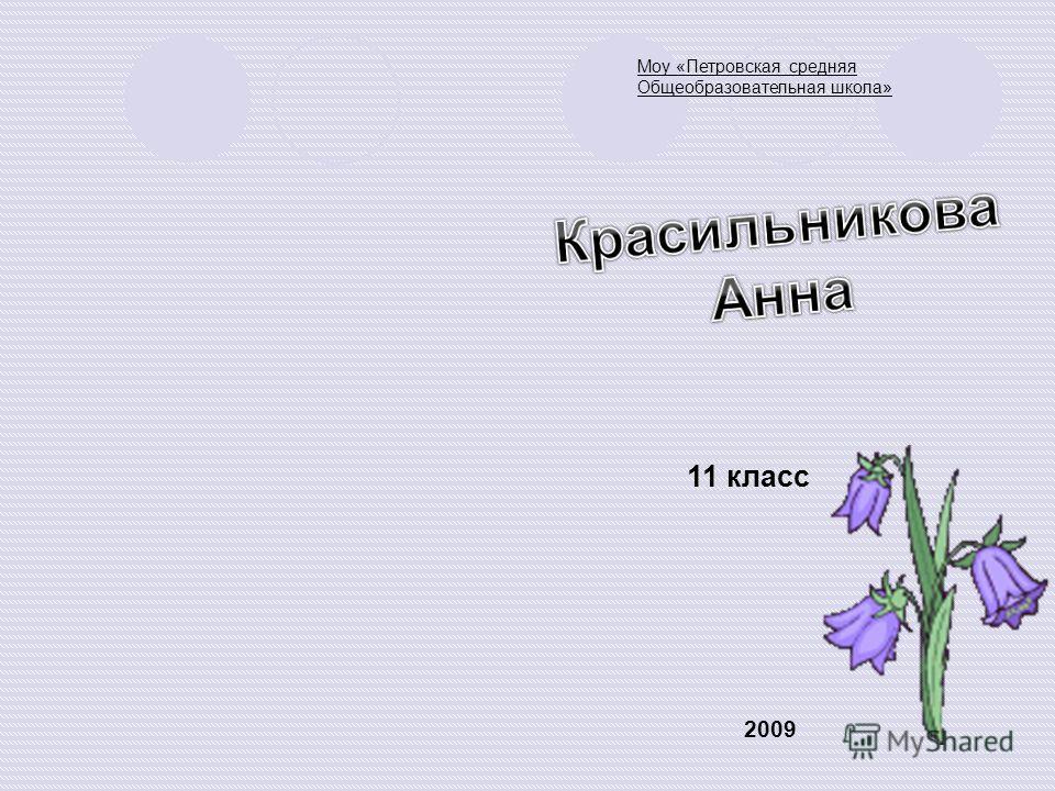 Моу «Петровская средняя Общеобразовательная школа» 11 класс 2009