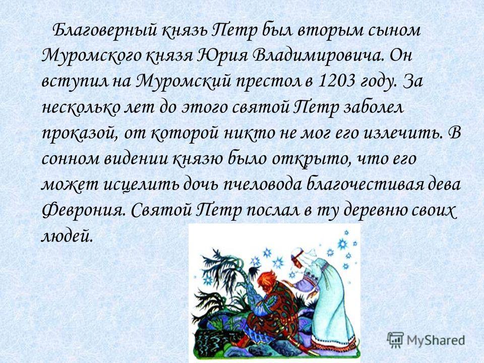 Благоверный князь Петр был вторым сыном Муромского князя Юрия Владимировича. Он вступил на Муромский престол в 1203 году. За несколько лет до этого святой Петр заболел проказой, от которой никто не мог его излечить. В сонном видении князю было открыт