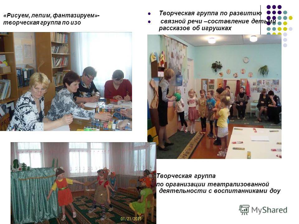«Рисуем, лепим, фантазируем»- творческая группа по изо Творческая группа по развитию связной речи –составление детьми рассказов об игрушках Творческая группа по организации театрализованной деятельности с воспитанниками доу