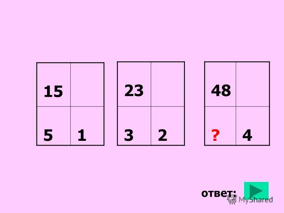 ответ: 15 5 1 23 3 2 48 ? 4