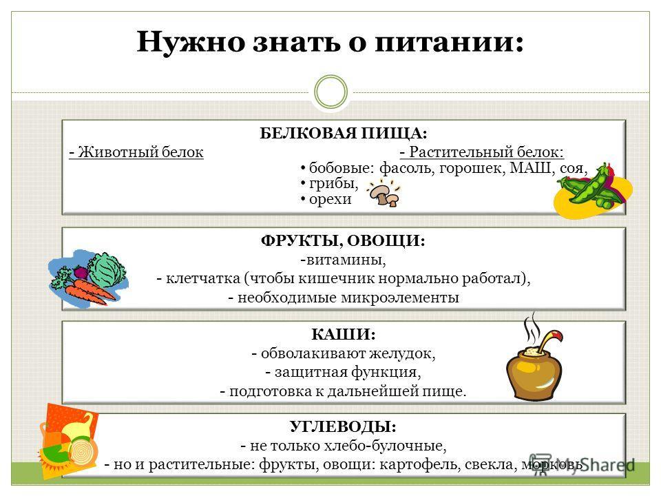 КАШИ: - обволакивают желудок, - защитная функция, - подготовка к дальнейшей пище. УГЛЕВОДЫ: - не только хлебо-булочные, - но и растительные: фрукты, овощи: картофель, свекла, морковь БЕЛКОВАЯ ПИЩА: - Животный белок- Растительный белок: бобовые: фасол