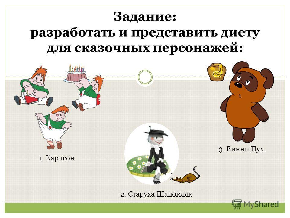 Задание: разработать и представить диету для сказочных персонажей: 1. Карлсон 3. Винни Пух 2. Старуха Шапокляк