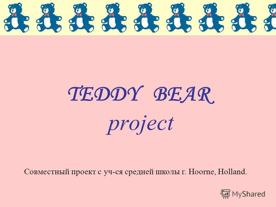 TEDDY BEAR project Совместный проект с уч-ся средней школы г. Hoorne, Holland.