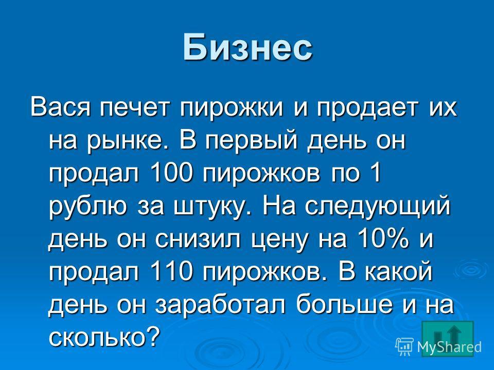 Бизнес Вася печет пирожки и продает их на рынке. В первый день он продал 100 пирожков по 1 рублю за штуку. На следующий день он снизил цену на 10% и продал 110 пирожков. В какой день он заработал больше и на сколько?