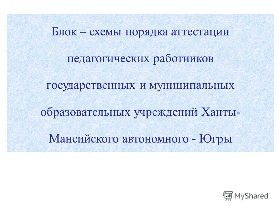 Блок – схемы порядка аттестации педагогических работников государственных и муниципальных образовательных учреждений Ханты- Мансийского автономного - Югры