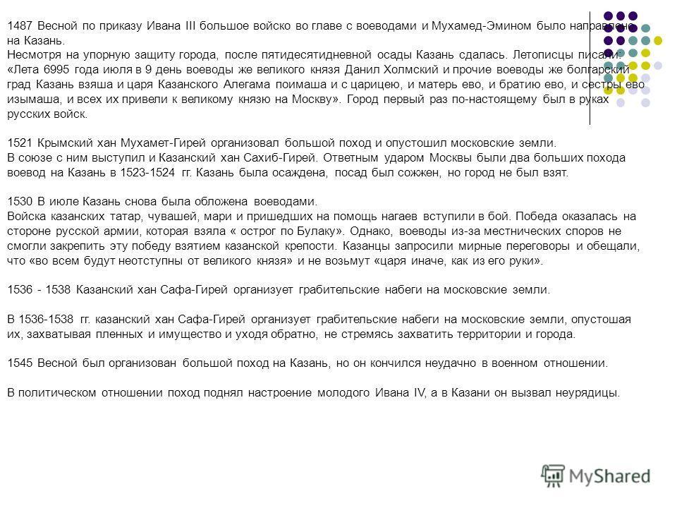 1487 Весной по приказу Ивана III большое войско во главе с воеводами и Мухамед-Эмином было направлено на Казань. Несмотря на упорную защиту города, после пятидесятидневной осады Казань сдалась. Летописцы писали: «Лета 6995 года июля в 9 день воеводы
