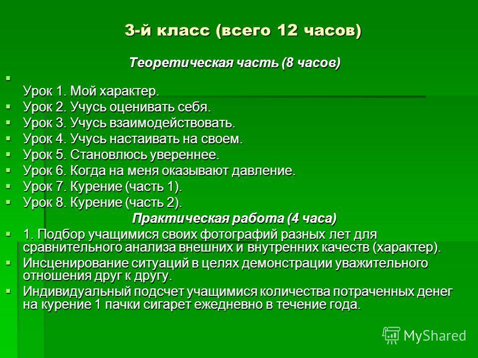 3-й класс (всего 12 часов) Теоретическая часть (8 часов) Урок 1. Мой характер. Урок 1. Мой характер. Урок 2. Учусь оценивать себя. Урок 2. Учусь оценивать себя. Урок 3. Учусь взаимодействовать. Урок 3. Учусь взаимодействовать. Урок 4. Учусь настаиват