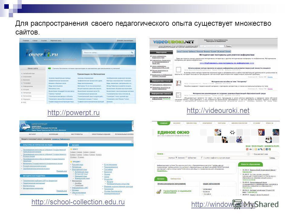 http://powerpt.ru Для распространения своего педагогического опыта существует множество сайтов. http://videouroki.net http://school-collection.edu.ru http://window.edu.ru