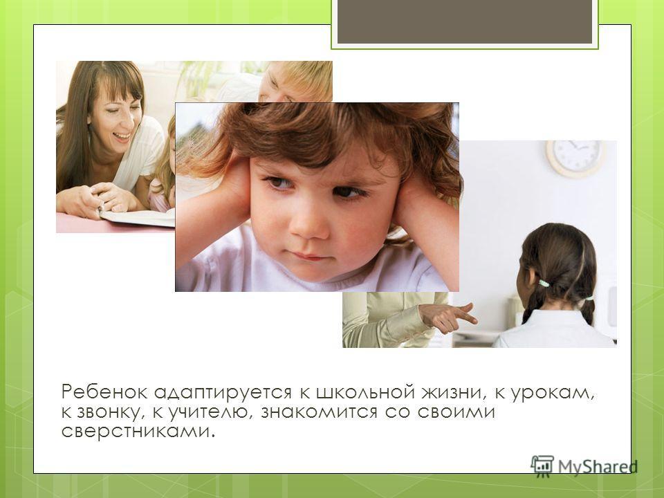 Ребенок адаптируется к школьной жизни, к урокам, к звонку, к учителю, знакомится со своими сверстниками.