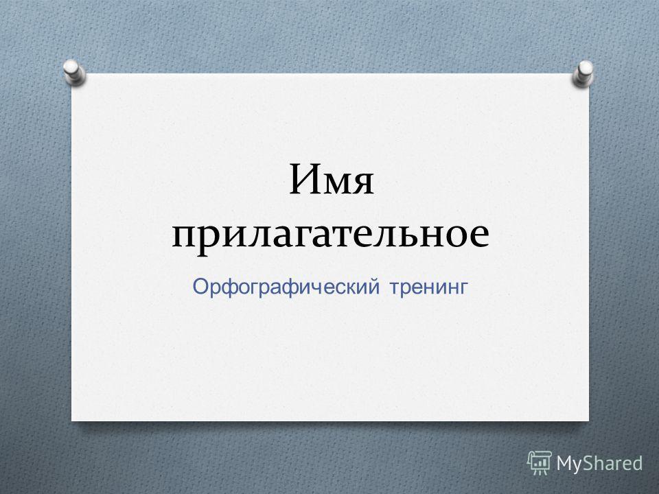 Имя прилагательное Орфографический тренинг