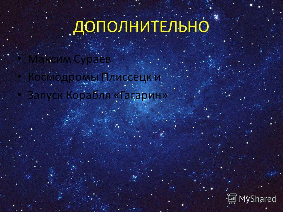 ДОПОЛНИТЕЛЬНО Максим Сураев Космодромы Плиссецк и Запуск Корабля «Гагарин»