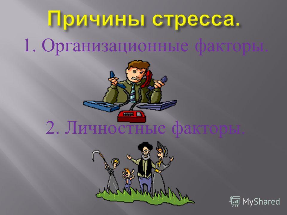 1. Организационные факторы. 2. Личностные факторы.