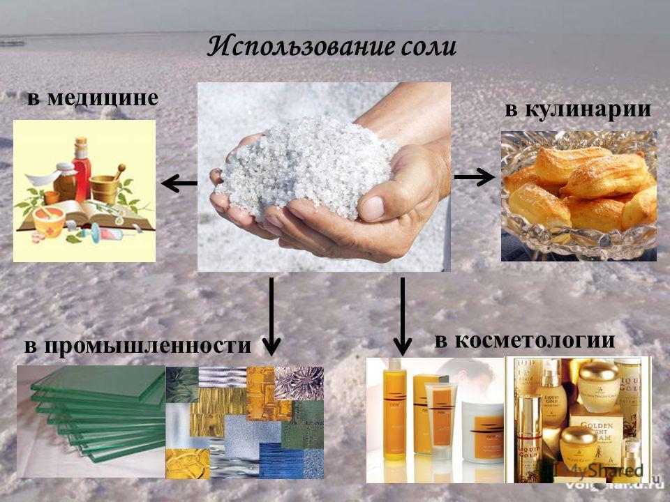 Использование соли в медицине в кулинарии в промышленности в косметологии
