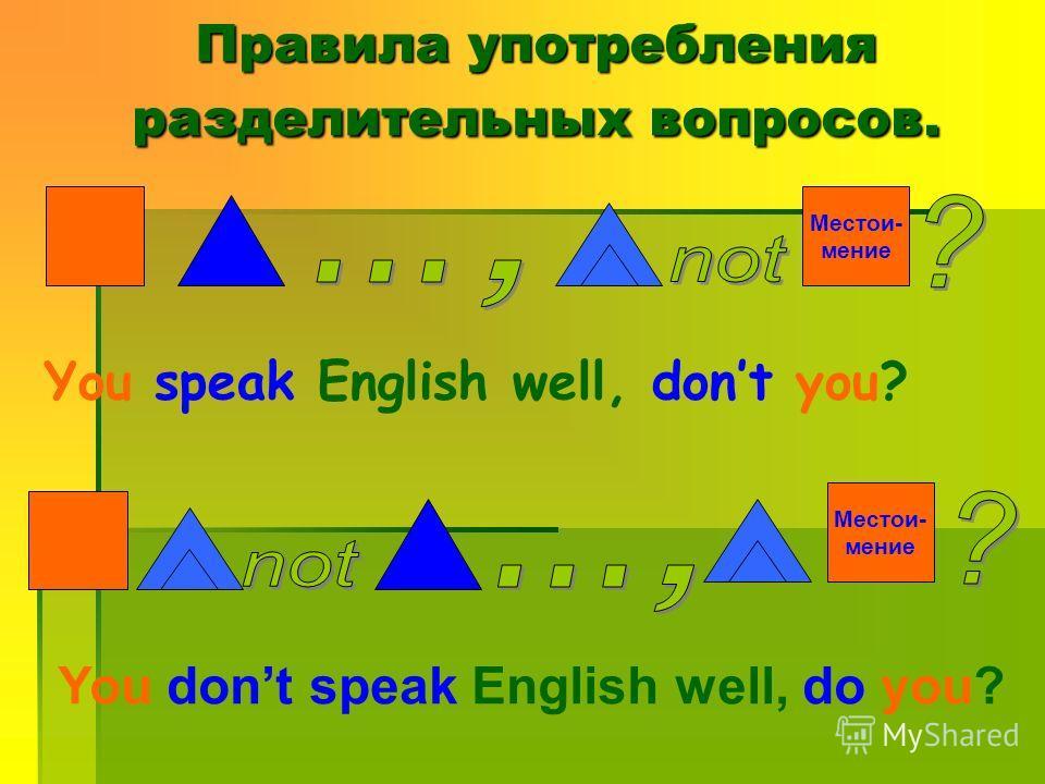 You speak English well, dont you? Местои- мение You dont speak English well, do you? Местои- мение Правила употребления разделительных вопросов.