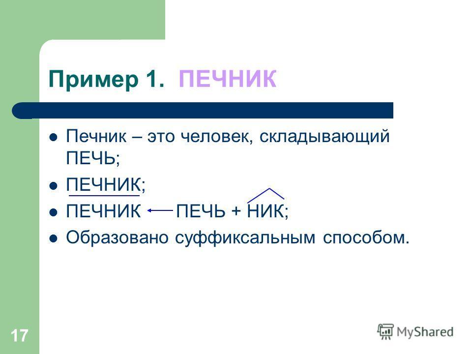 16 Схема словобразовательного анализа 1. Дайте толкование лексического значения слова. 2. Найдите слово, от которого оно образовано, выделите производящую основу. 3. Укажите морфему, с помощью которой оно образовано. 4. Постройте словообразовательную