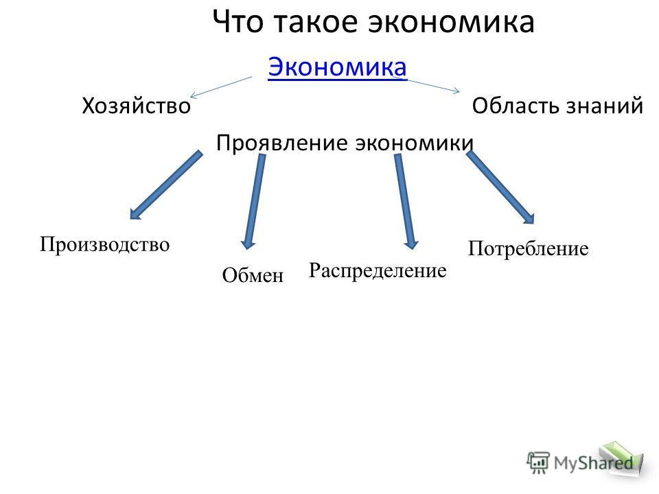 Что такое экономика Экономика Хозяйство Область знаний Проявление экономики Производство Обмен Распределение Потребление
