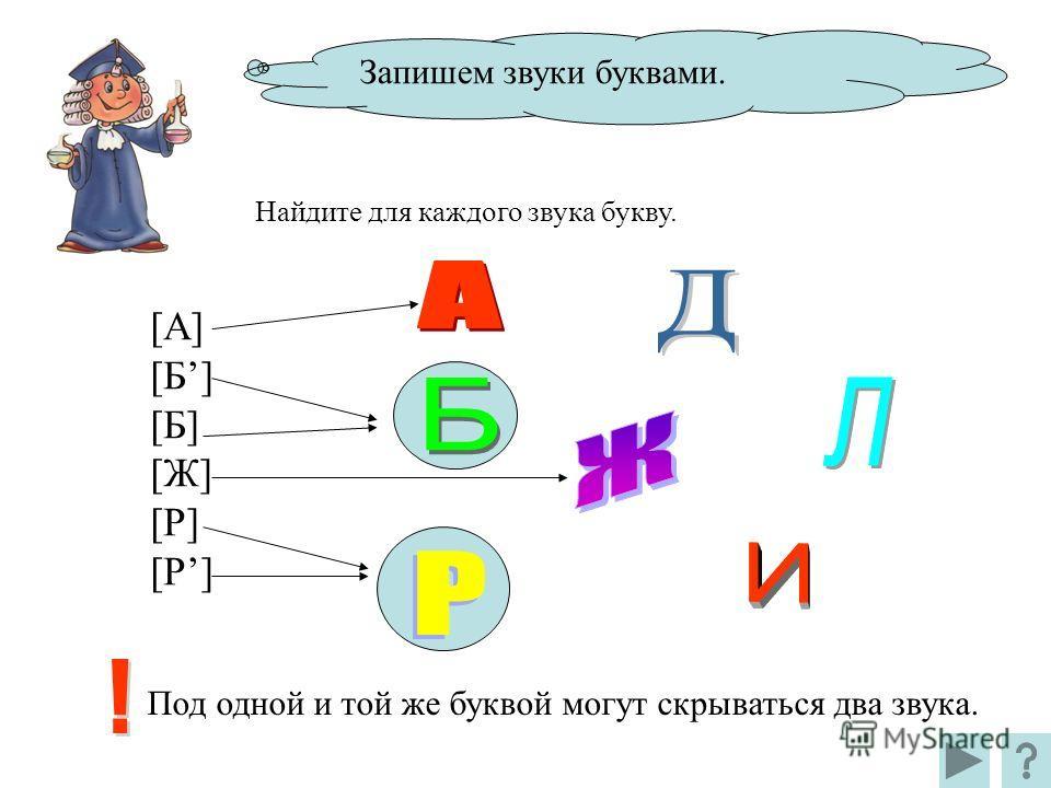 Запишем звуки буквами. Найдите для каждого звука букву. [А][Б][Б][Ж][Р][Р][А][Б][Б][Ж][Р][Р] Под одной и той же буквой могут скрываться два звука.