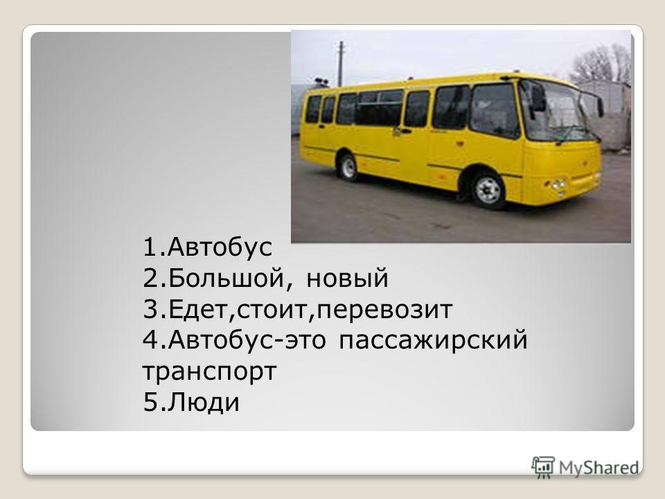 1.Автобус 2.Большой, новый 3.Едет,стоит,перевозит 4.Автобус-это пассажирский транспорт 5.Люди