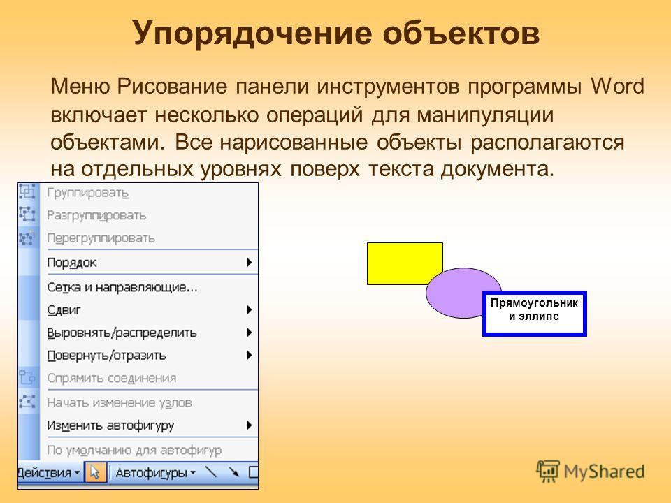 Упорядочение объектов Меню Рисование панели инструментов программы Word включает несколько операций для манипуляции объектами. Все нарисованные объекты располагаются на отдельных уровнях поверх текста документа. Прямоугольник и эллипс
