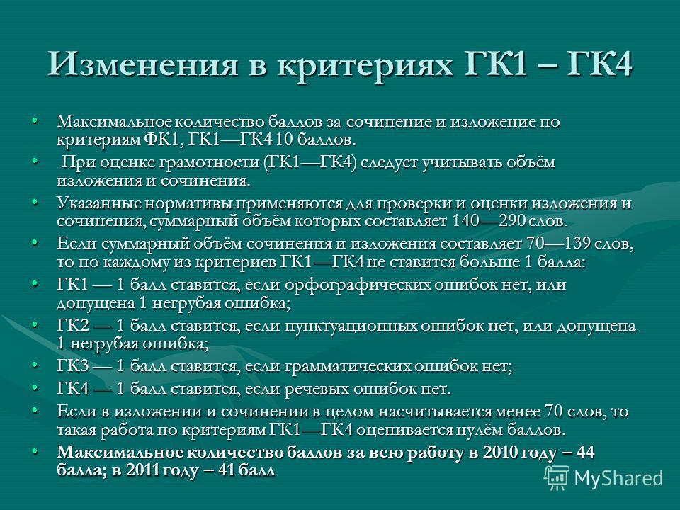 Изменения в критериях ГК1 – ГК4 Максимальное количество баллов за сочинение и изложение по критериям ФК1, ГК1ГК4 10 баллов.Максимальное количество баллов за сочинение и изложение по критериям ФК1, ГК1ГК4 10 баллов. При оценке грамотности (ГК1ГК4) сле
