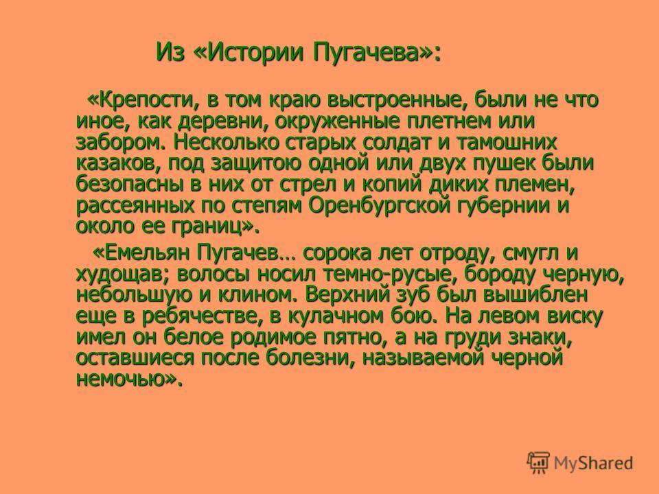 Из «Истории Пугачева»: Из «Истории Пугачева»: «Крепости, в том краю выстроенные, были не что иное, как деревни, окруженные плетнем или забором. Несколько старых солдат и тамошних казаков, под защитою одной или двух пушек были безопасны в них от стрел