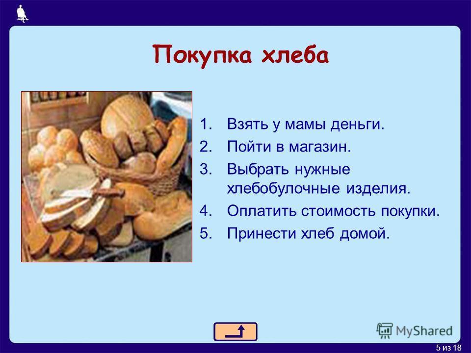 5 из 18 Покупка хлеба 1.Взять у мамы деньги. 2.Пойти в магазин. 3.Выбрать нужные хлебобулочные изделия. 4.Оплатить стоимость покупки. 5.Принести хлеб домой.