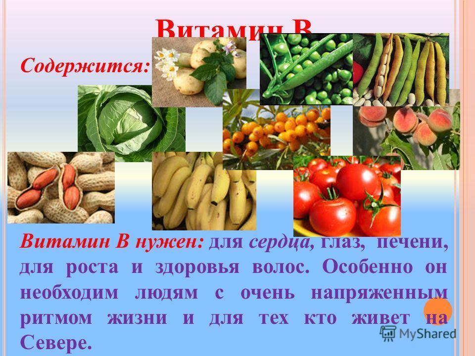 Витамин B Содержится: Витамин B нужен: для сердца, глаз, печени, для роста и здоровья волос. Особенно он необходим людям с очень напряженным ритмом жизни и для тех кто живет на Севере.