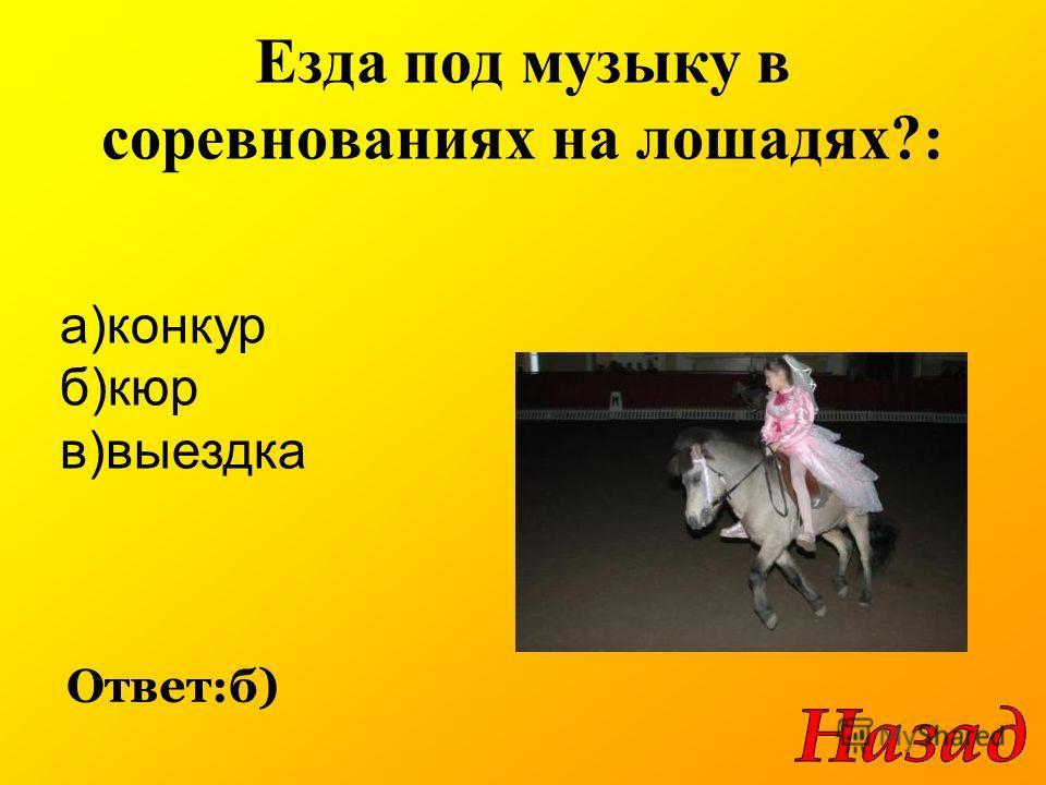 Езда под музыку в соревнованиях на лошадях?: Ответ:б) а)конкур б)кюр в)выездка