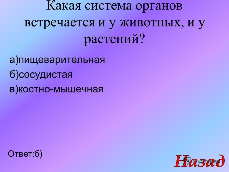 Какая система органов встречается и у животных, и у растений? а)пищеварительная б)сосудистая в)костно-мышечная Ответ:б)