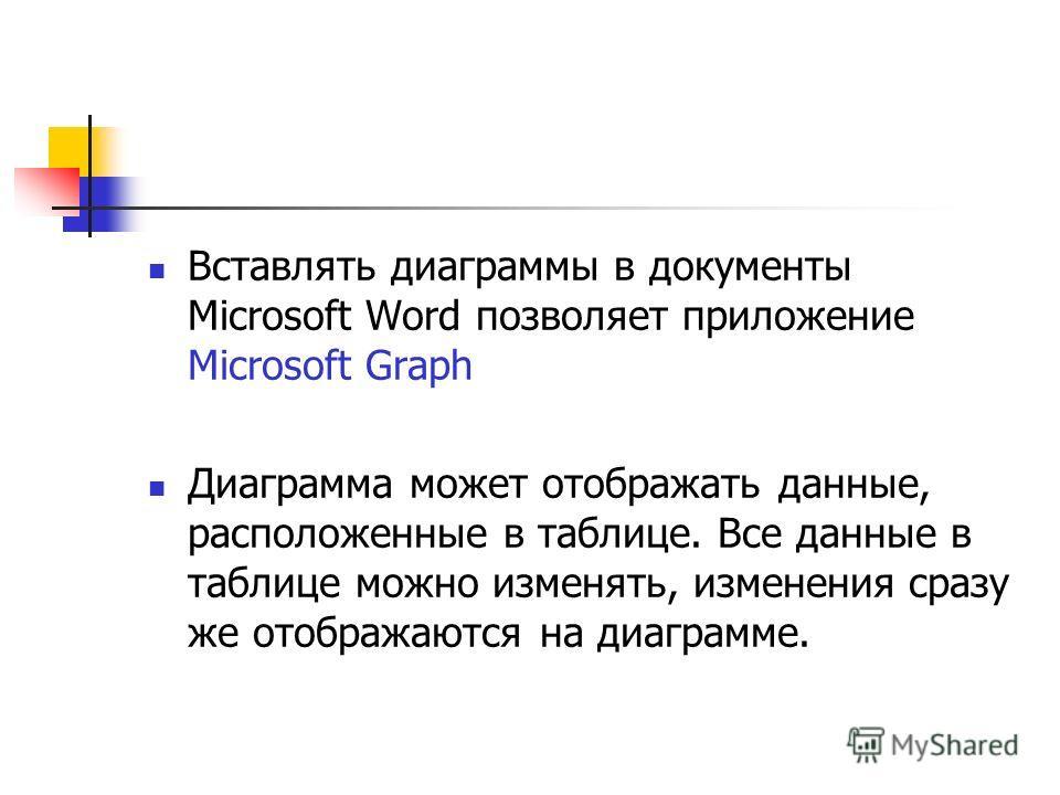 Вставлять диаграммы в документы Microsoft Word позволяет приложение Microsoft Graph Диаграмма может отображать данные, расположенные в таблице. Все данные в таблице можно изменять, изменения сразу же отображаются на диаграмме.