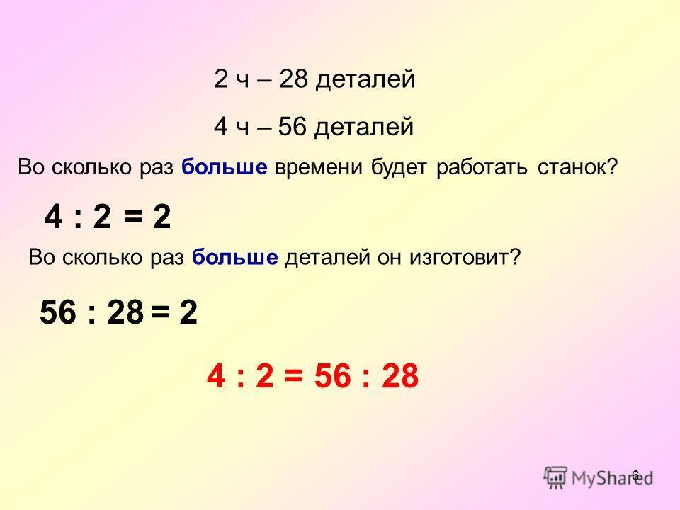 6 2 ч – 28 деталей 4 ч –56 деталей Во сколько раз больше времени будет работать станок? 4 : 2 Во сколько раз больше деталей он изготовит? 56 : 28 4 : 2 = 56 : 28 = 2