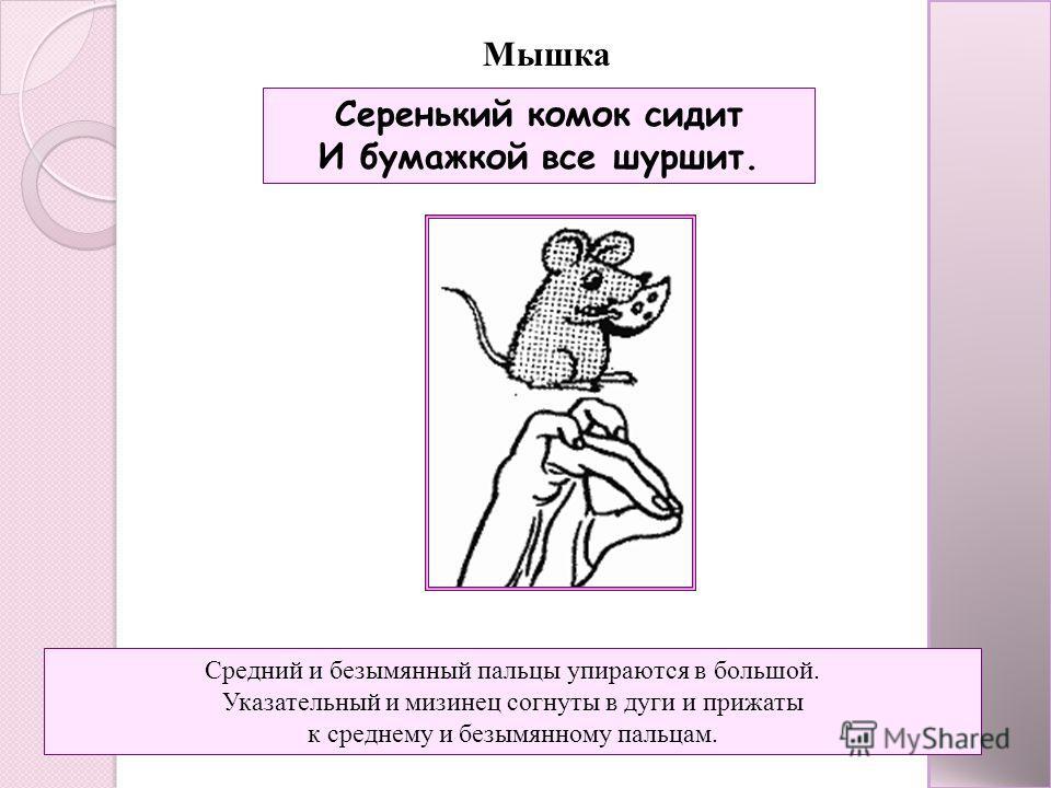 Мышка Серенький комок сидит И бумажкой все шуршит. Средний и безымянный пальцы упираются в большой. Указательный и мизинец согнуты в дуги и прижаты к среднему и безымянному пальцам.