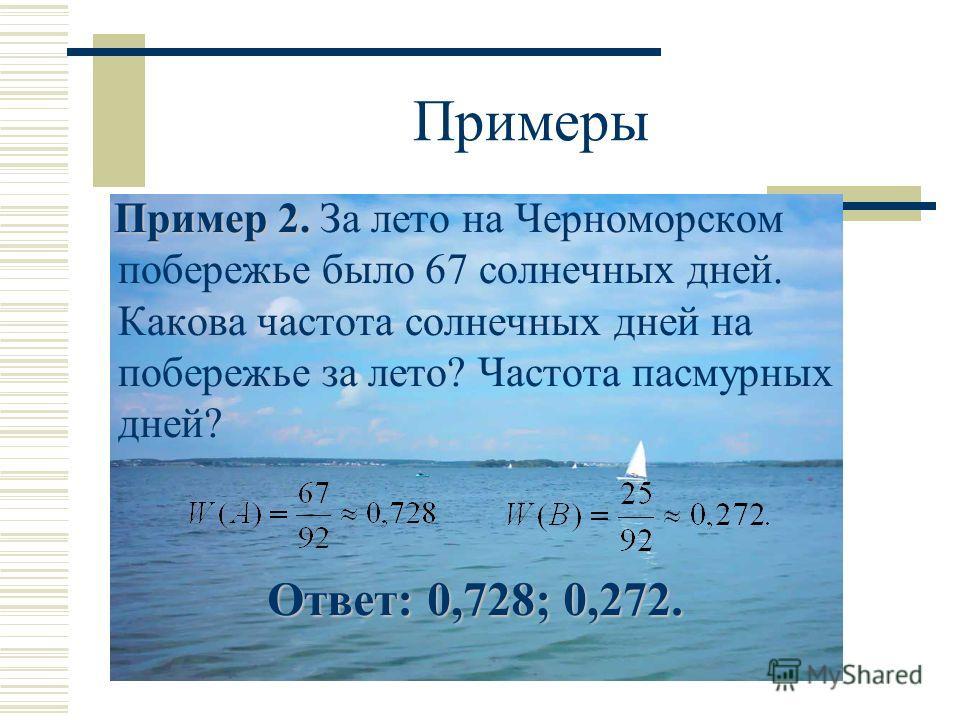 Примеры Пример 2. Пример 2. За лето на Черноморском побережье было 67 солнечных дней. Какова частота солнечных дней на побережье за лето? Частота пасмурных дней? Ответ: 0,728; 0,272. Ответ: 0,728; 0,272.