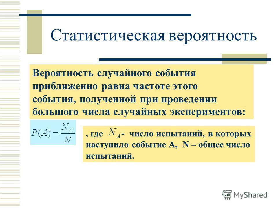 Статистическая вероятность Вероятность случайного события приближенно равна частоте этого события, полученной при проведении большого числа случайных экспериментов:, где - число испытаний, в которых наступило событие А, N – общее число испытаний.