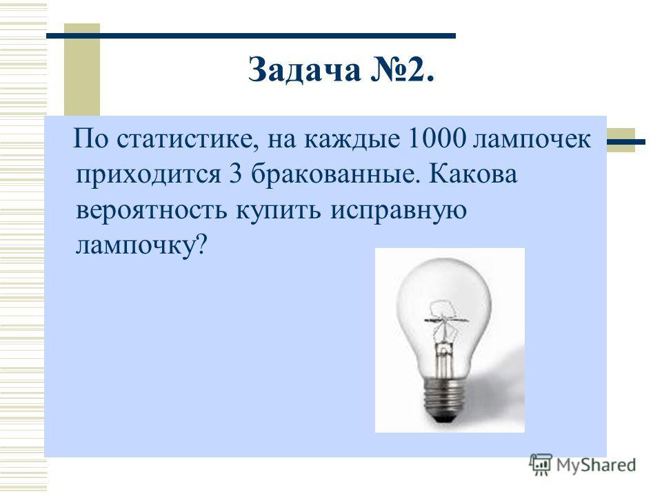 По статистике, на каждые 1000 лампочек приходится 3 бракованные. Какова вероятность купить исправную лампочку? Задача 2.