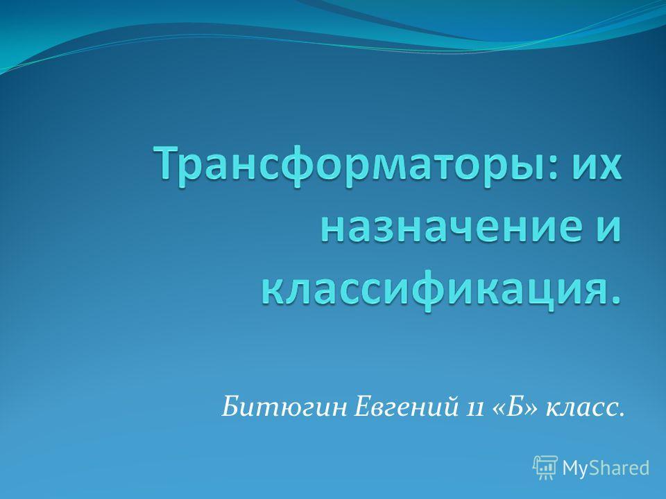Битюгин Евгений 11 «Б» класс.