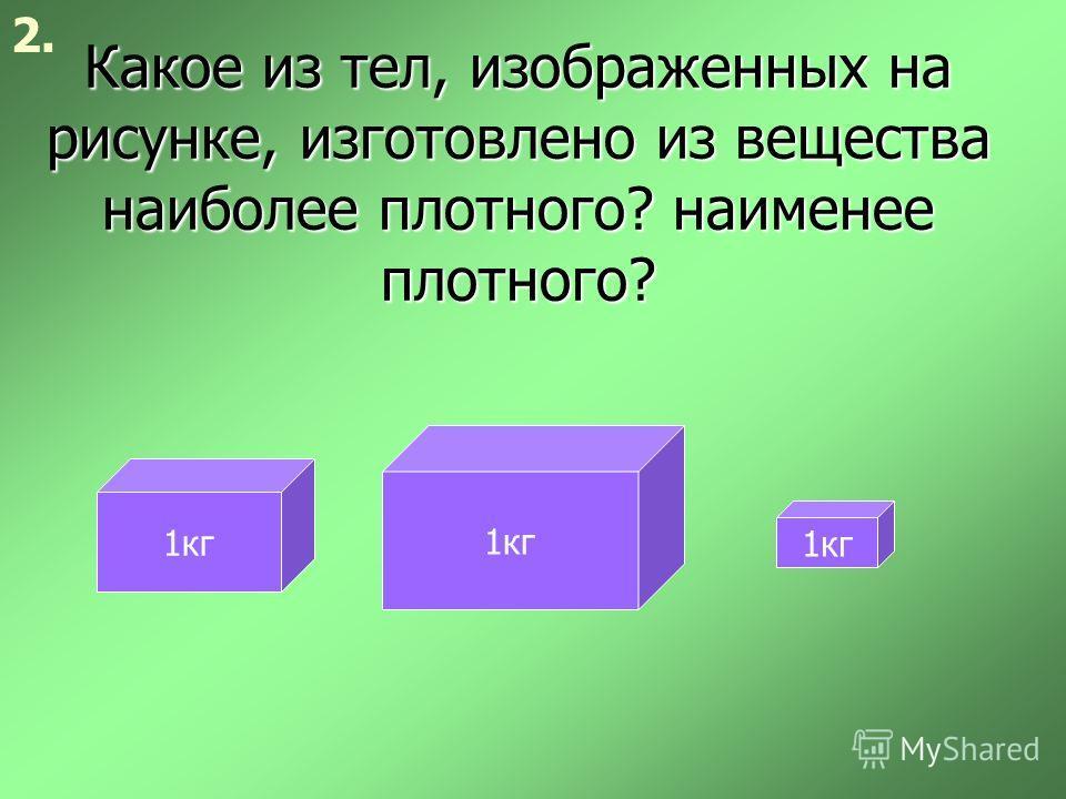 Какое из тел, изображенных на рисунке, изготовлено из вещества наиболее плотного? наименее плотного? 2. 1кг
