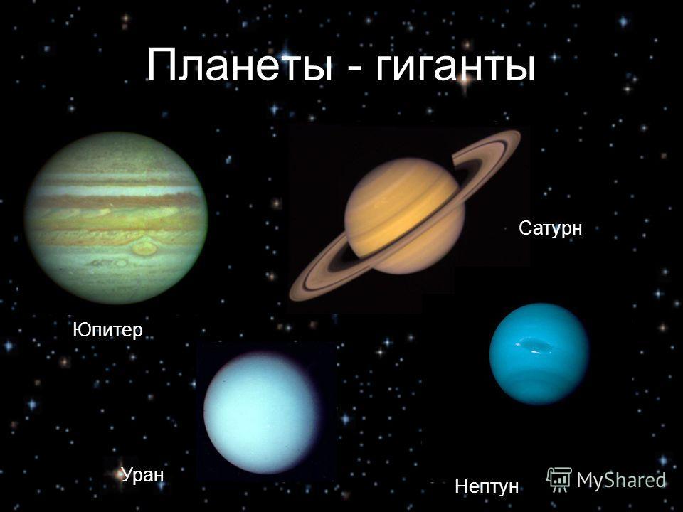 Планеты - гиганты Юпитер Сатурн Уран Нептун