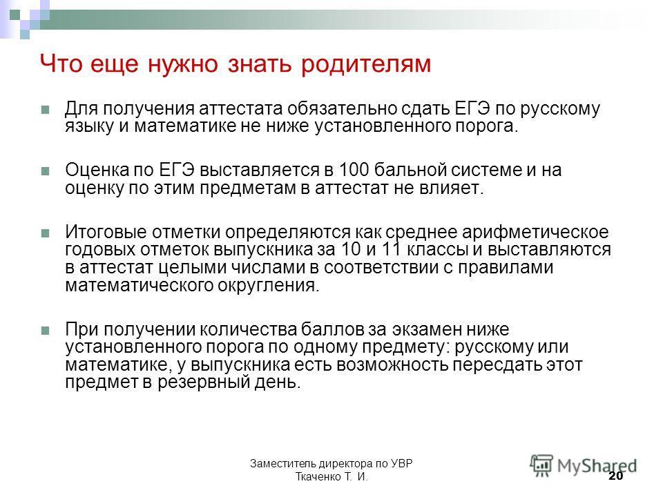 Заместитель директора по УВР Ткаченко Т. И.20 Что еще нужно знать родителям Для получения аттестата обязательно сдать ЕГЭ по русскому языку и математике не ниже установленного порога. Оценка по ЕГЭ выставляется в 100 бальной системе и на оценку по эт