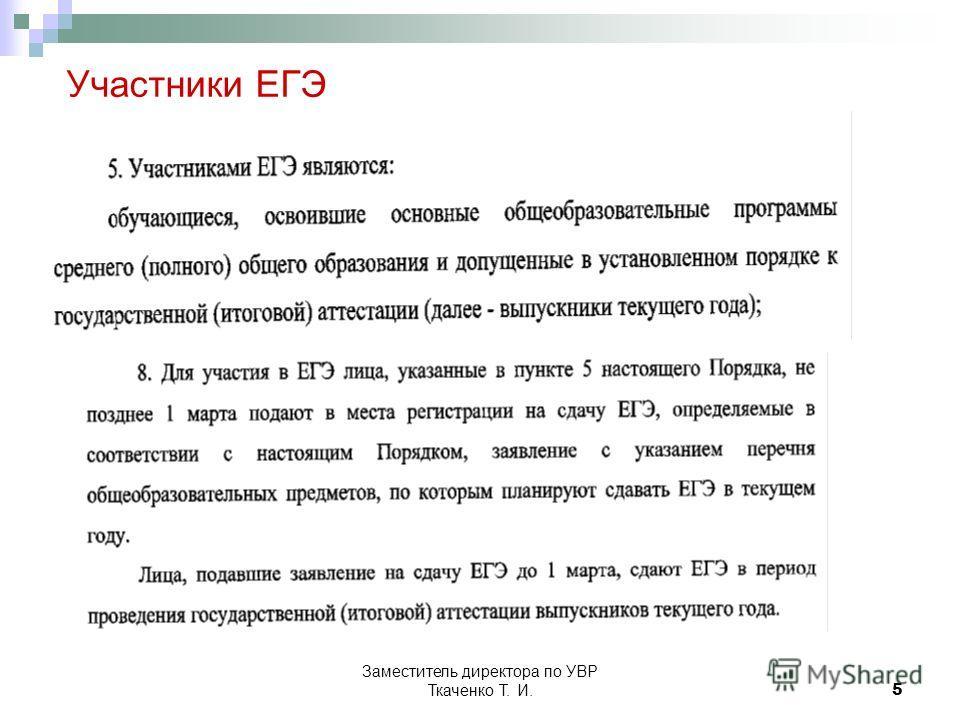 Заместитель директора по УВР Ткаченко Т. И.5 Участники ЕГЭ