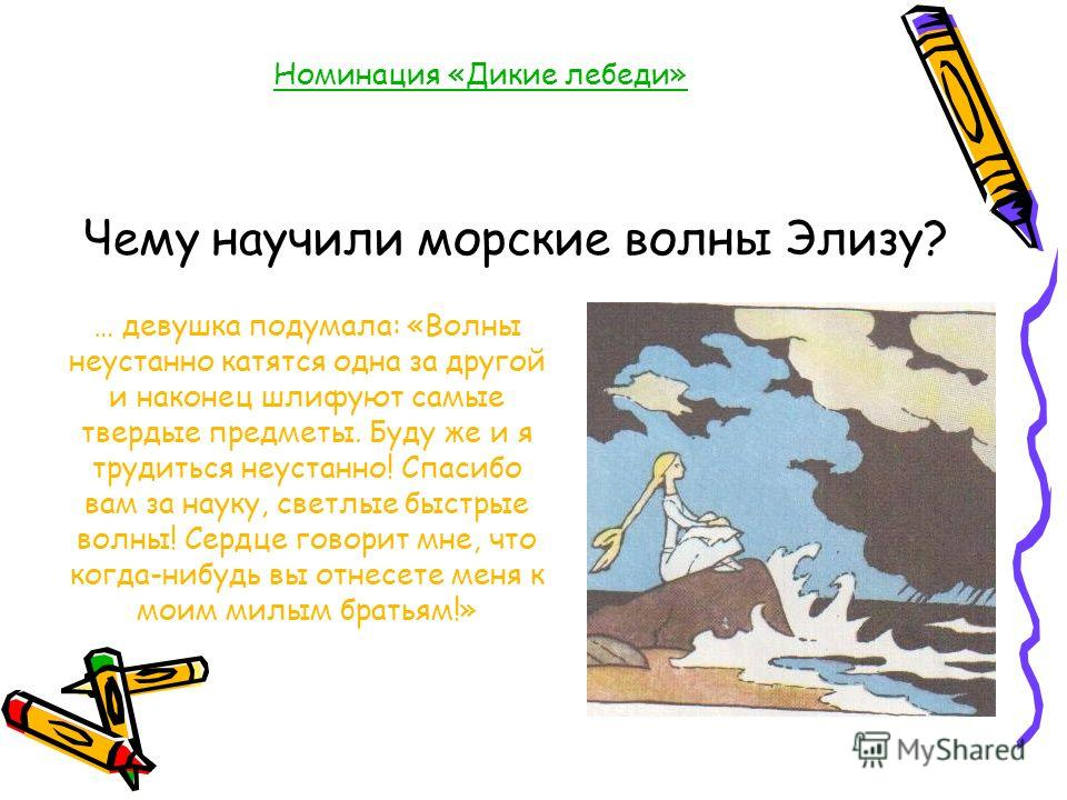 Номинация «Дикие лебеди» Чему научили морские волны Элизу? … девушка подумала: «Волны неустанно катятся одна за другой и наконец шлифуют самые твердые предметы. Буду же и я трудиться неустанно! Спасибо вам за науку, светлые быстрые волны! Сердце гово