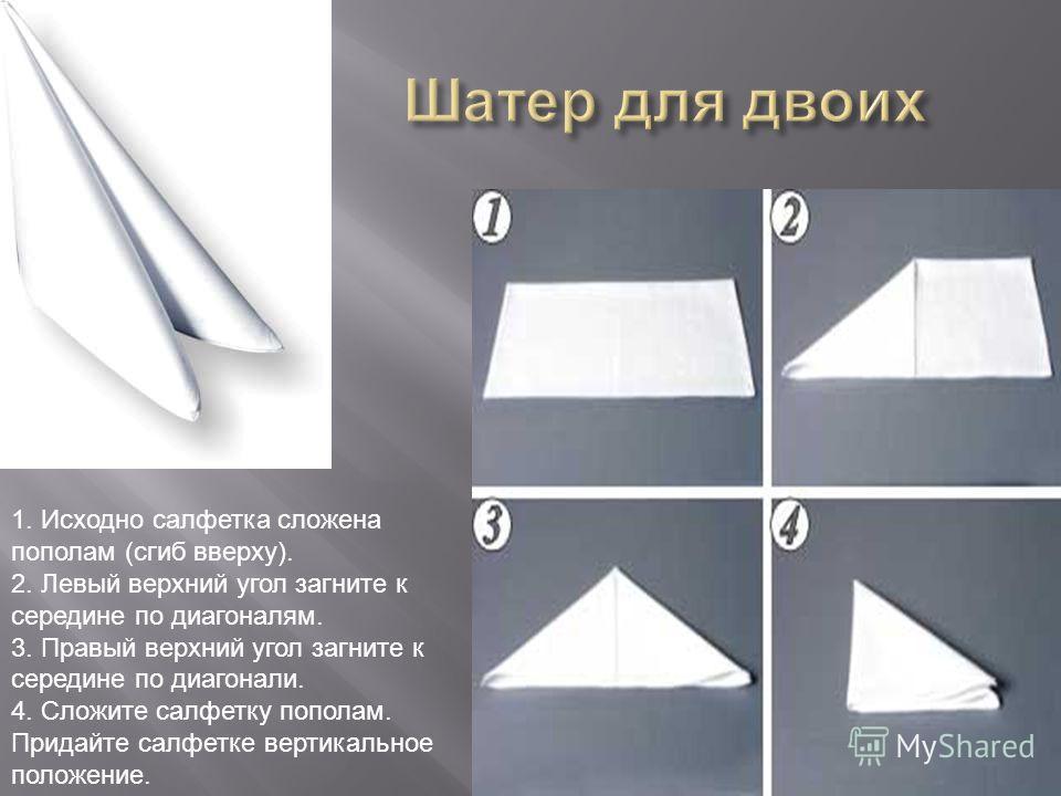 1. Исходно салфетка сложена пополам (сгиб вверху). 2. Левый верхний угол загните к середине по диагоналям. 3. Правый верхний угол загните к середине по диагонали. 4. Сложите салфетку пополам. Придайте салфетке вертикальное положение.