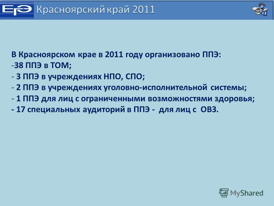 В Красноярском крае в 2011 году организовано ППЭ: -38 ППЭ в ТОМ; - 3 ППЭ в учреждениях НПО, СПО; - 2 ППЭ в учреждениях уголовно-исполнительной системы; - 1 ППЭ для лиц с ограниченными возможностями здоровья; - 17 специальных аудиторий в ППЭ - для лиц