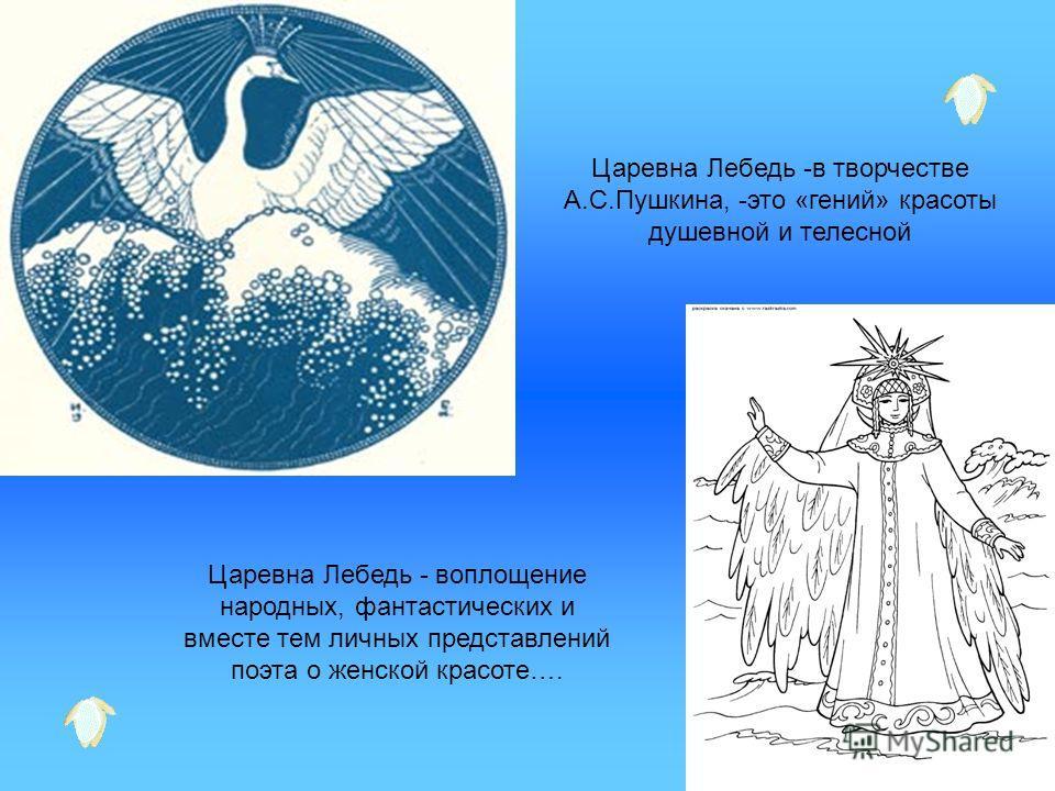 Царевна Лебедь -в творчестве А.С.Пушкина, -это «гений» красоты душевной и телесной Царевна Лебедь - воплощение народных, фантастических и вместе тем личных представлений поэта о женской красоте….