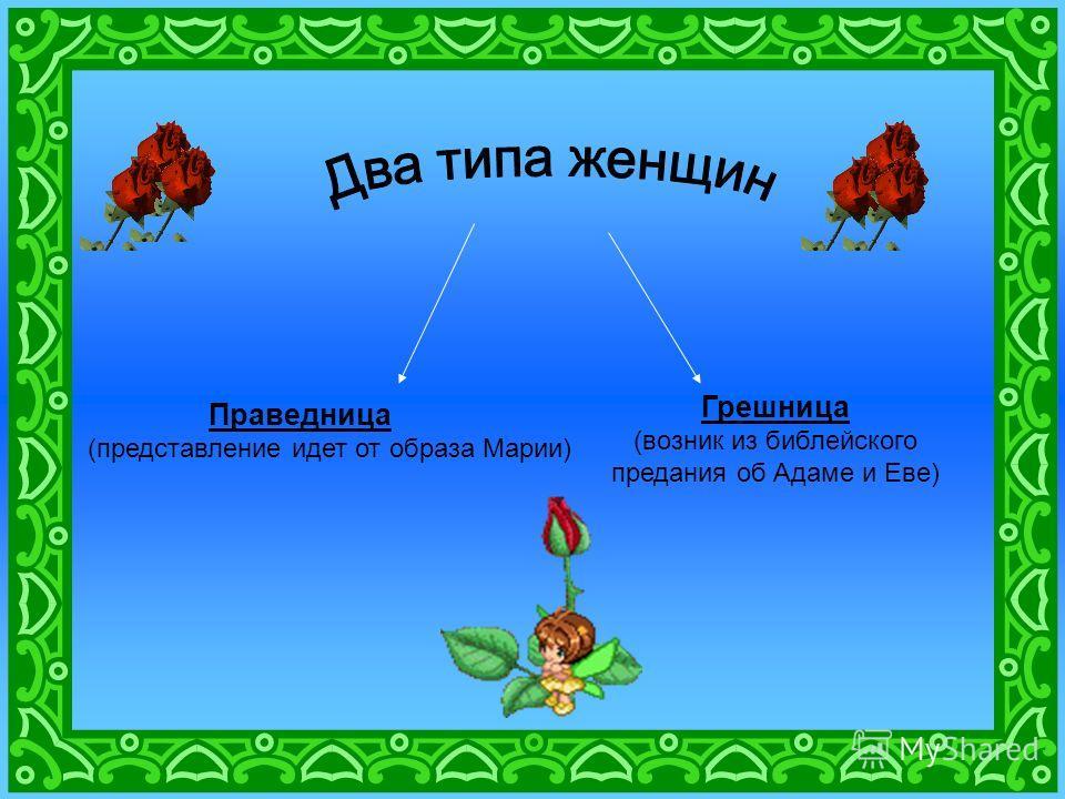 Праведница (представление идет от образа Марии) Грешница (возник из библейского предания об Адаме и Еве)
