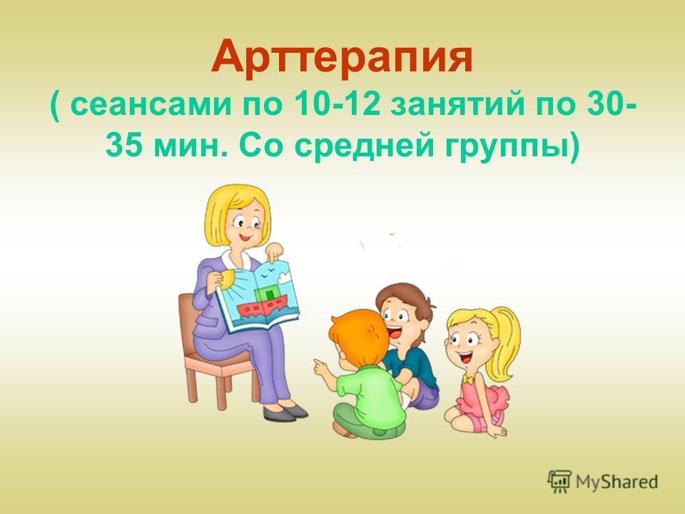 Арттерапия ( сеансами по 10-12 занятий по 30- 35 мин. Со средней группы)