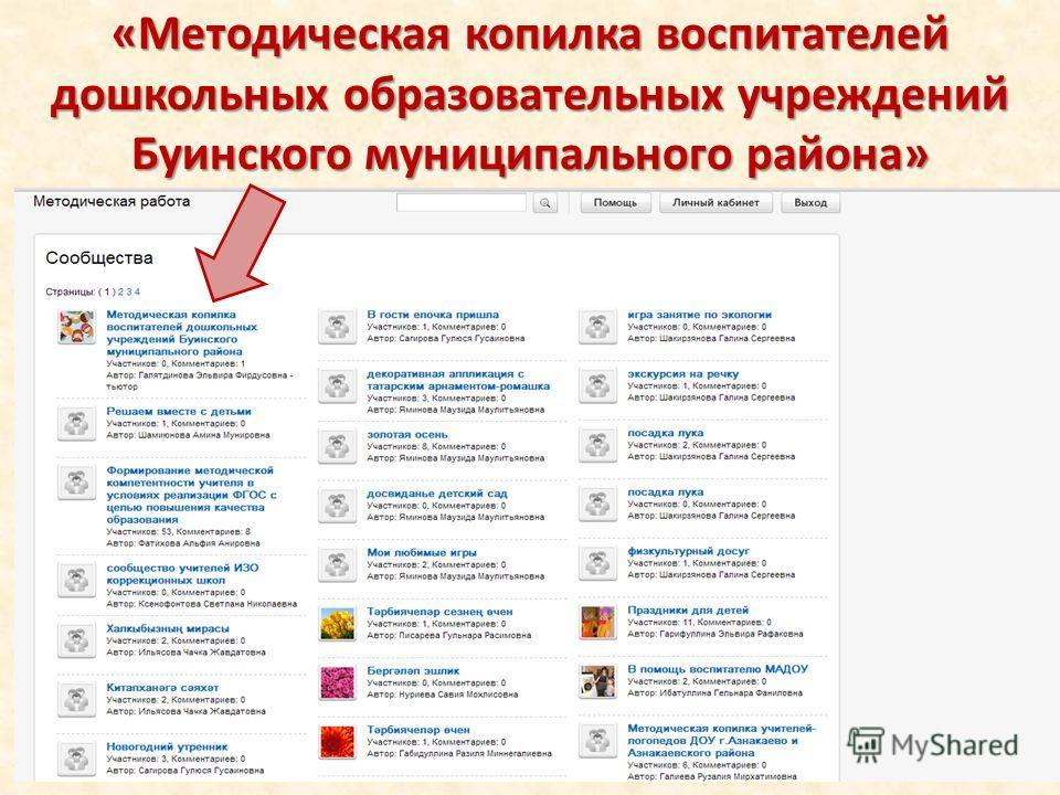 «Методическая копилка воспитателей дошкольных образовательных учреждений Буинского муниципального района»