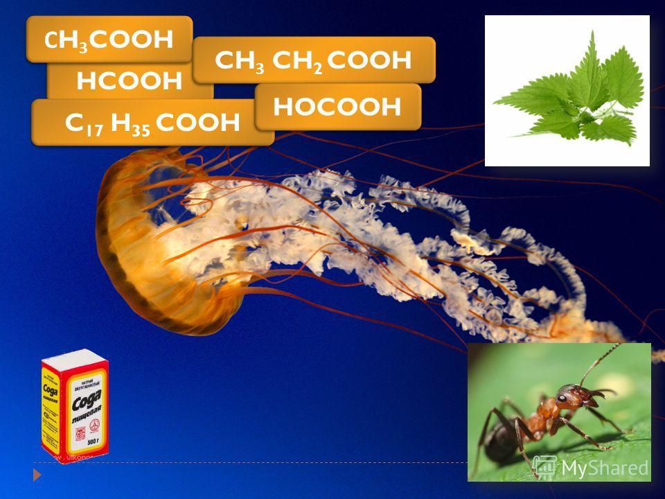 HCOOH С H 3 COOH CH 3 CH 2 COOH C 17 H 35 COOH HOCOOH