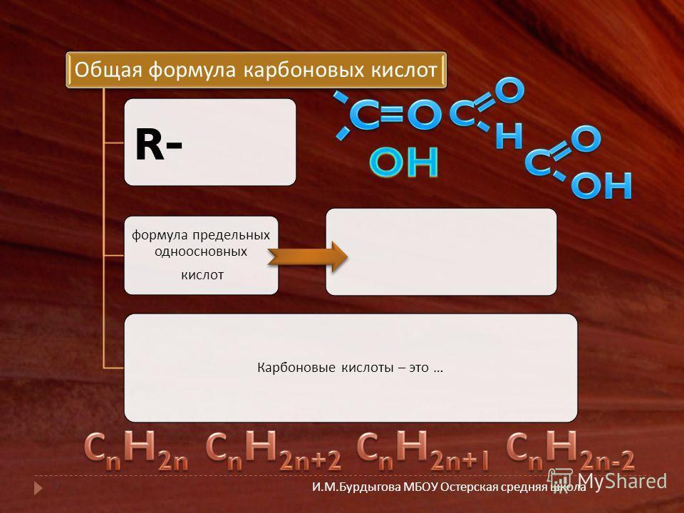 И. М. Бурдыгова МБОУ Остерская средняя школа 7 Общая формула карбоновых кислот R-R- формула предельных одноосновных кислот Карбоновые кислоты – это …