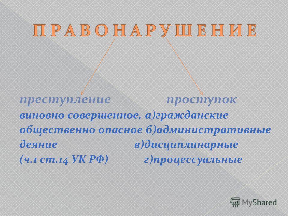 преступление проступок виновно совершенное, а)гражданские общественно опасное б)административные деяние в)дисциплинарные (ч.1 ст.14 УК РФ) г)процессуальные